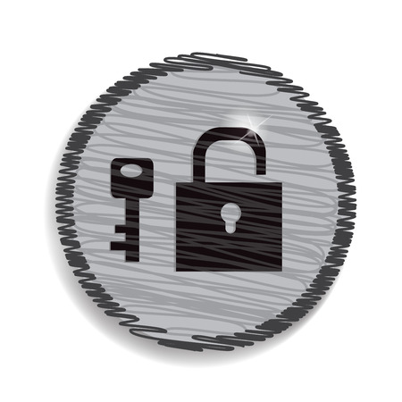 unbreakable: padlock and key isolated Illustration