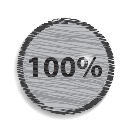 hundred: One hundred percent, isolated  100%