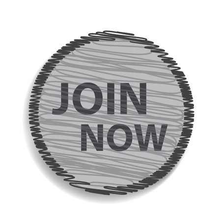 subscribing: Join now circular icon on white background