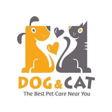 Creative and beautiful logo design of happy loving cat and dog. Illustration