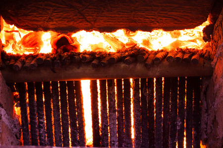 winter grilling: Very hot orange flames are burning.