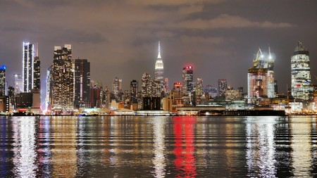 New York, New York - March 21 2017. Skyline of Midtown Manhattan at night