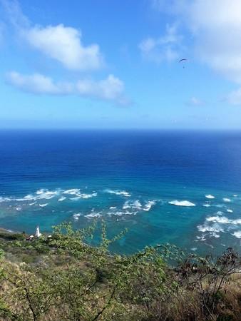 snorkelers: Shoreline of Oahu Island Hawaii