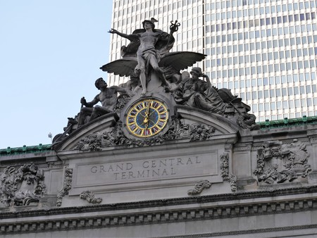 New York City - April 2 2017. Grand Central Station roof statue and clock