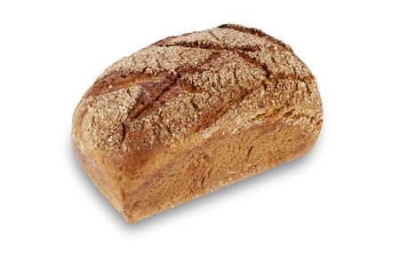 Fresh loaves of dark bread with different seeds baked in a baking dish of rectangular shape n white background with shade