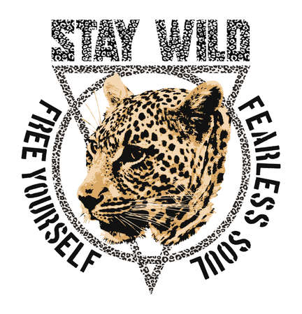 stay wild leopard - Vector Graphics and typography t-shirt design for apparel.