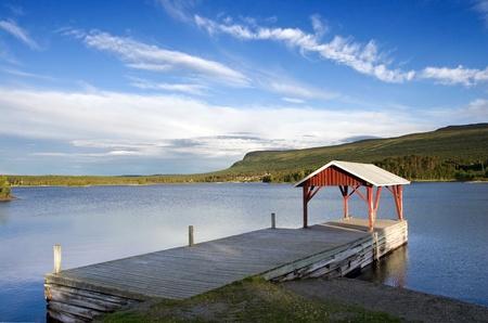 Lake Landing in the Village of Jackvik in Northern Sweden  Lapland  Stock Photo