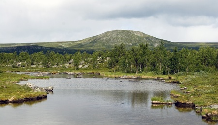 Lake in Tundra near the Kungsleden trail in northern Sweden