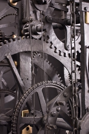 Medieval astronomical clock gearing - interior - detail photo