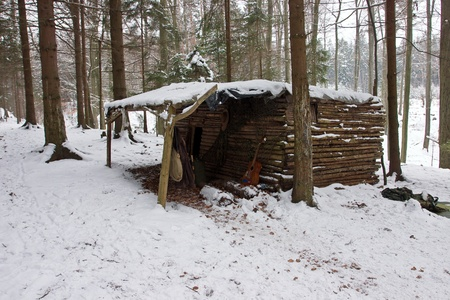 Old Log Cabin in Winter Forest  Brdy Mountains, Czech Republic  photo