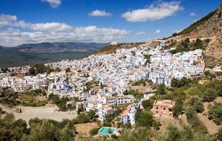 Chefchaouen, Morocco - Panoramic View of this Small town in the Rif Mountains photo