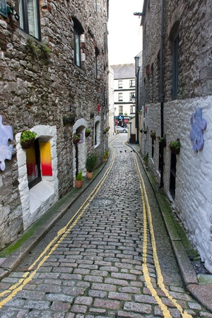 Narrow Street of Historical Centre of Plymouth, England