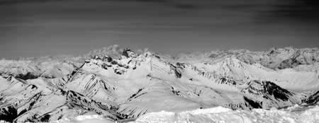 Panoramic View of Snow Mountain Range Landscape with Mont Blanc in the Background, Monochromatic Photo