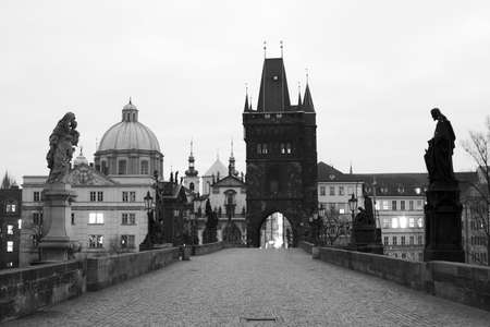 View of the Small Bridge Tower of Charles Bridge in Prague in the Czech Republic  This Bridge is the Oldest in Prague  built in the year 1402   Stock Photo - 16781990