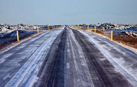 Highway Number 1 Goes Around Iceland  Clear Road Covered by Frost  photo