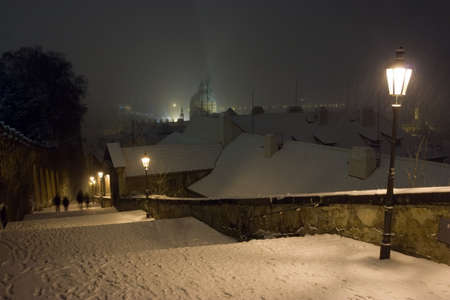 Prague Castle Stairway of The Old Town of Prague in Winter Night, Czech Republic Stock Photo