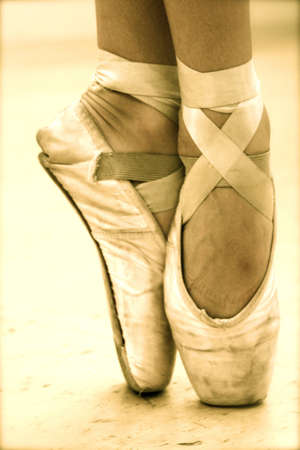 ballet shoes: A ballerina in pointe shoes