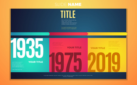 Bright contrast colors step by step years infographic