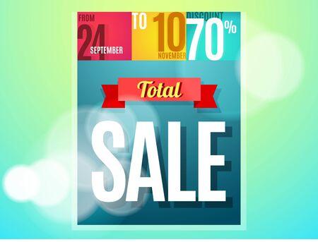 total: Total sale banner color design. illustration template Illustration