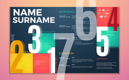 biography: modern cv resume template. Bright contrast colors infographic with curriculum vitae infographic, boxes and text