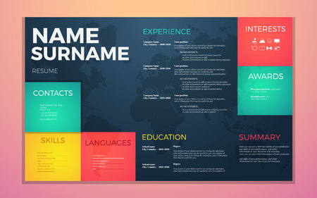 job descriptions: modern cv resume template. Bright contrast colors infographic with curriculum vitae infographic, boxes and text