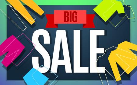 Big clothes sale banner color design. illustration template