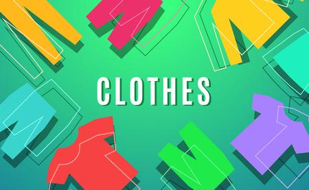 Modern style clothes color design. illustration template Illustration