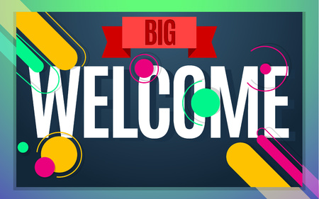 Modern style welcome banner color design. Vector illustration template