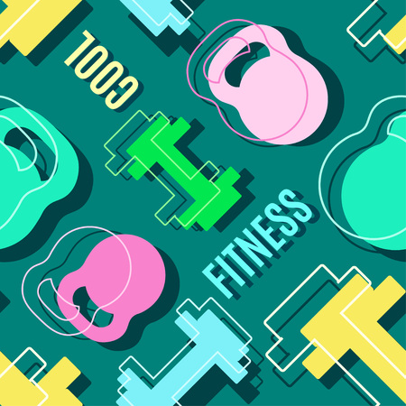 any size: Modern style fitness sport banner color design. Vector illustration seamless pattern template Illustration