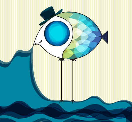 Funny fish keeps the sea vector illustration