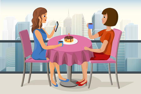 dinner date: Two young women celebrating birthday in a roof top cafe with a cake, candle and a cup of tea vector image