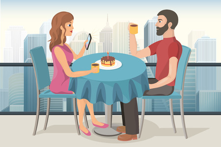 dinner date: couple on a date celebrating birthday in a roof top cafe with a cake, candle and a cup of tea vector image