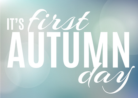 autumn colour: Its first autumn day. vector blur background, colour gradient mesh of rainy blue sky
