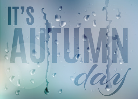 Its autumn day. vector blur background, colour gradient mesh of rainy blue sky with water drops on window glass Çizim