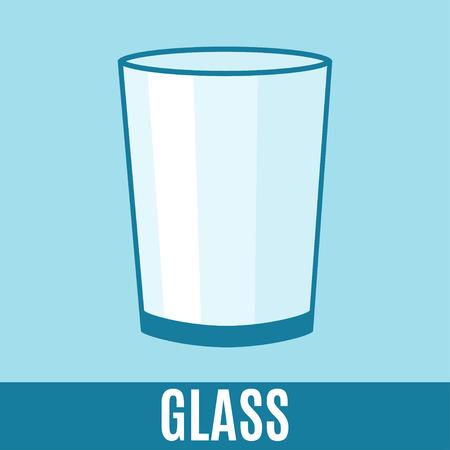 desechos organicos: Orgánica icono plana de residuos de vidrio y texto. Vector ilustración del concepto de plantilla, la clasificación de residuos etiqueta azul diseño moderno.