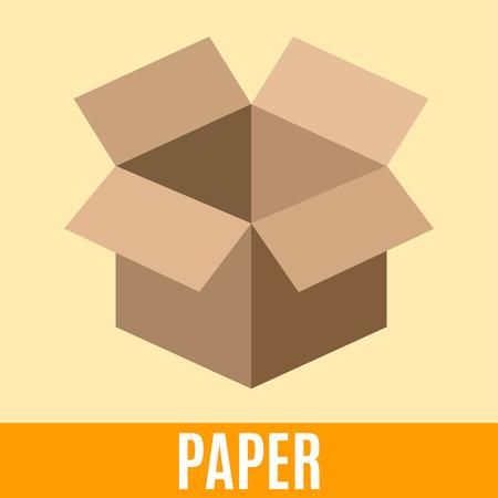 desechos organicos: Orgánica icono plana de residuos con la caja de embalaje de papel y el texto. Vector ilustración del concepto de plantilla, la clasificación de residuos adhesivo de color amarillo diseño moderno.