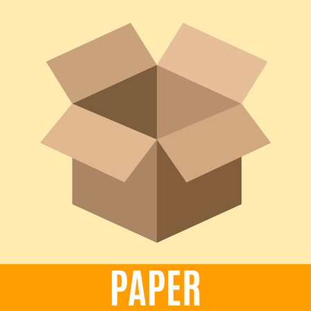 sorting: Organic waste flat icon with paper packing box and text. Vector concept illustration template, sorting waste yellow sticker modern design.