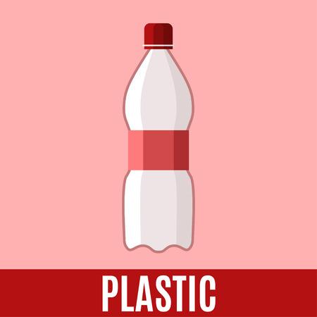 desechos organicos: Orgánica icono plana de residuos con la botella de plástico y texto. Vector ilustración del concepto de plantilla, la clasificación de residuos adhesivo rojo diseño moderno.