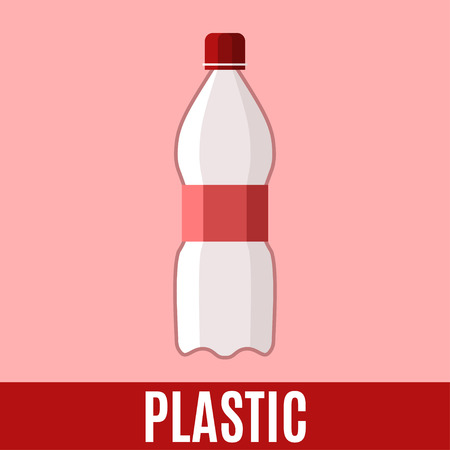sorting: Organic waste flat icon with plastic bottle and text. Vector concept illustration template, sorting waste red sticker modern design. Illustration