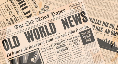 newsprint: Old newspaper vintage design. Retro background vector template with text and images.