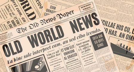 oude krant: Oude krant vintage design. Retro achtergrond vector sjabloon met tekst en afbeeldingen.