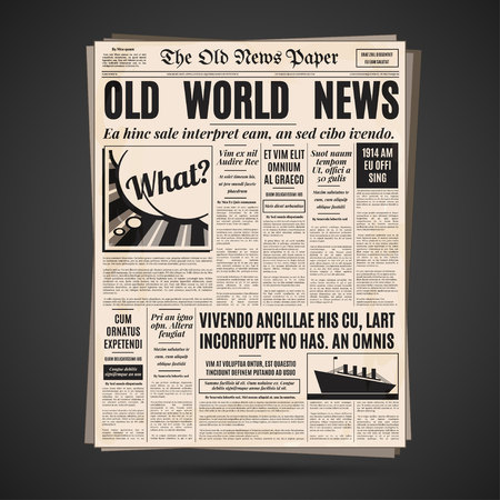 Old newspaper vintage design. Retro vertical background vector template with text and images.