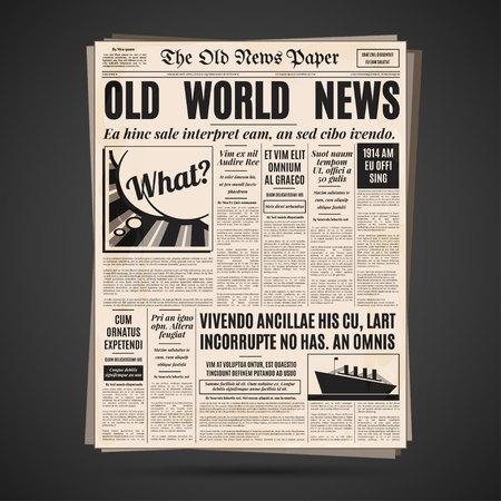 oude krant: Oude krant vintage design. Retro verticale achtergrond vector sjabloon met tekst en afbeeldingen. Stock Illustratie