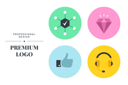 Modern color icon set design. Vector round sign template for web page or logo Illustration