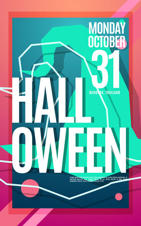 Happy Halloween bright neon color poster with text and witch hat. Vector modern template for your design