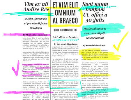 old newspaper: Color marker text selection vector set on old newspaper