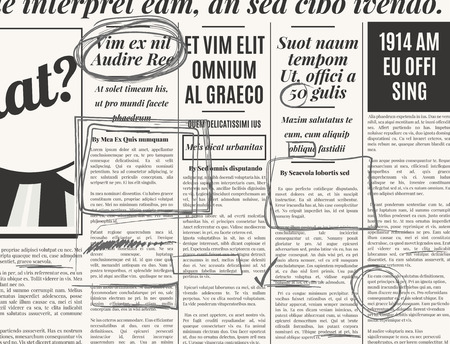 old newspaper: Gray pencil marker text selection vector set on old newspaper