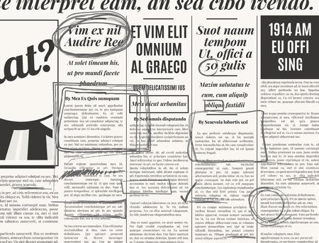 oude krant: Grijs potlood marker tekst selectie vector set op oude krant Stock Illustratie