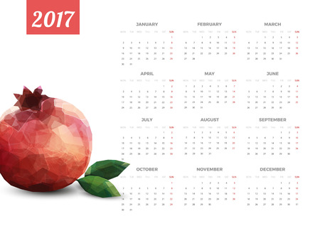 Calendario brillante blanco moderno de 2017. La semana comienza el lunes. Crear diseño de la ilustración del vector.