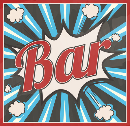 Retro style Bar signboard Background. Boom comic book explosion, beautiful vintage sign, abstract template with text